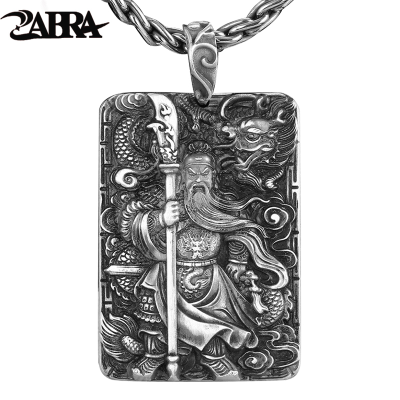 ZABRA Religion Solid 999 Sterling Silver Pendants For Men Dragon Guan Yu Hero Good Pray Necklace Vintage Chinese Culture Jewelry 15 chinese folk bronze painted seat general guan gong yu warrior god broadsword dsd66
