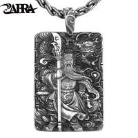 ZABRA Religion Solid 999 Sterling Silver Pendants For Men Dragon Guan Yu Hero Good Pray Necklace Vintage Chinese Culture Jewelry