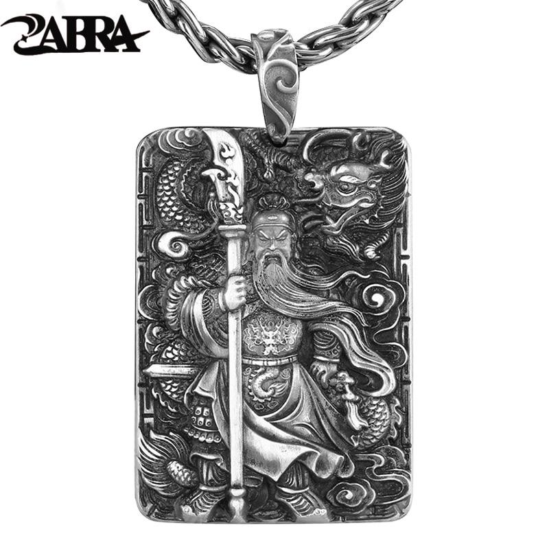ZABRA Religion Solide 999 Pendentifs En Argent Sterling Pour Hommes Dragon Guan Yu Hero Bon Prier Collier Vintage Bijoux Culture Chinoise