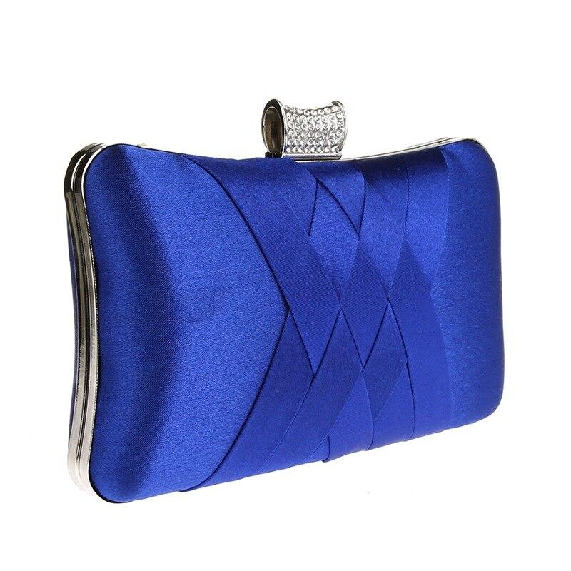 2019 Women Diamonds Evening Hand Bag Blue Clutch Bags Bride Wedding Party Chain Purse Small Handbag Ladies Clutches Bags