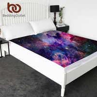 Постельные принадлежности Outlet Galaxy, простыни для внешнего пространства, постельные принадлежности Psychedelic Universe, простыни фиолетовые, синие, к...