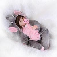 16inches 42CM Silicone Reborn Doll Bonecas Baby Reborn Realistic Magnetic Pacifier Bebe Bjd Doll Reborn For