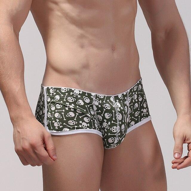 Ciokicx male boxer panties print skull cotton breathable sexy u bag cueca boxer sexy underwear boxer men's fashion