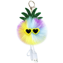 New Creative Sunglasses pineapple Cell phone data cable hair ball key buckle lady bag small pendant creative gift