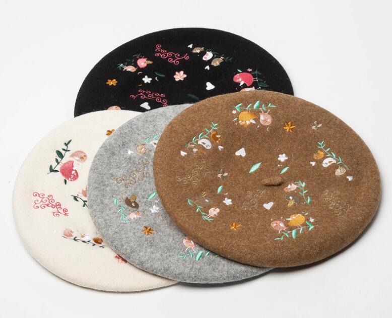 Boinas De Lã de Luxo Flor Aves