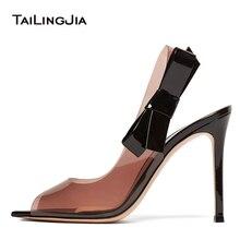 Fashion Clear Transparent PVC Woman Slingback Elegance Shoes Peep Toe Ladies Cute Bow Stilettos High Heel Sandals