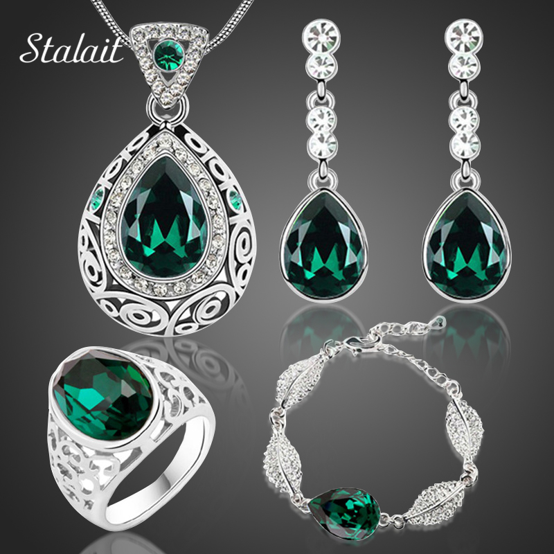 2017 Mode pernikahan bridal Water Drop kalung anting set Warna Emas putih Austria Kristal desain perhiasan set 84191