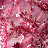 1 Yard Luxury 3D Blossom Flower Mesh Lace Fabric Pearl Beaded Wine Red curtains For Party Dress 2019