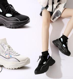 Haute Chaussures 2018 Beige Chaussettes noir Creative Coréenne Nouvelle Casual 5qffHv