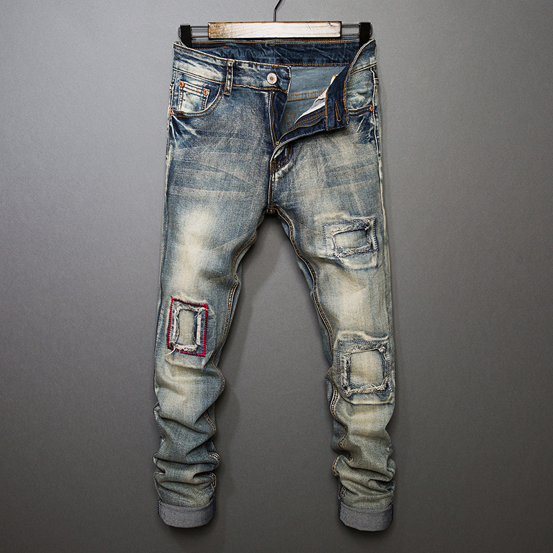 Night Club Hole patchwork Jeans Men vintage Blue Ripped Jeans Trousers 28 40 High Quality Mens