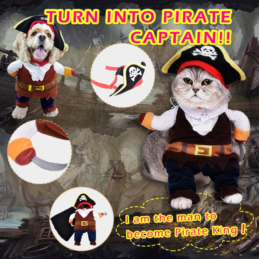 Pet Clothes Pirate Cat Costumes For Cat Dog Cartoon Performance Clothes For Fun