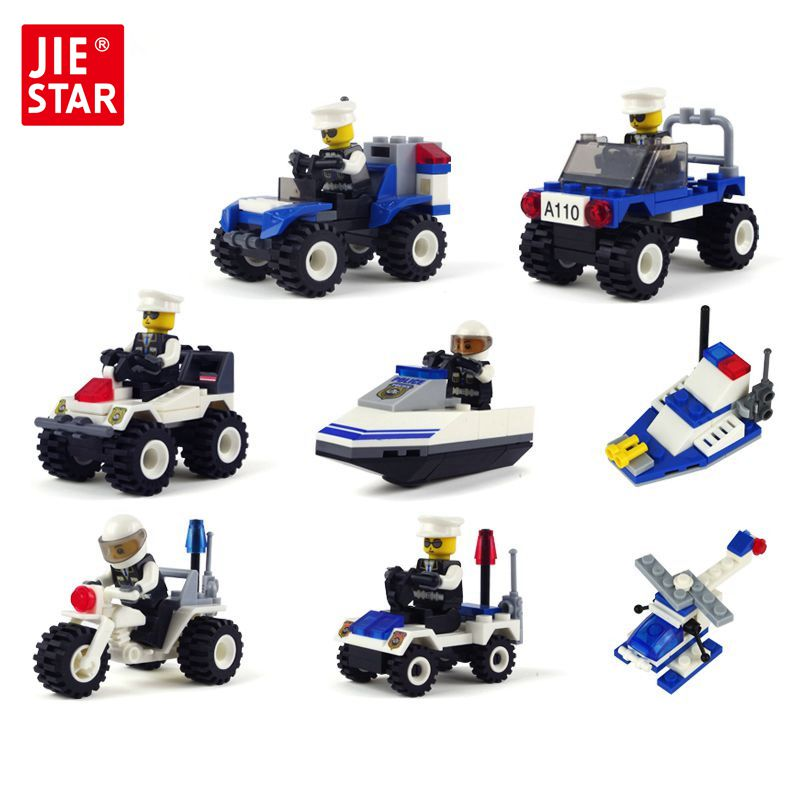 JIE-STAR City Police Series Building Blocks Toys for Children Car Police Blocks Toys Best Christmas Gift  Toys for Boys jie star police pickup truck 3 kinds deformations city police building block toys for children boys diy police block toy 20026