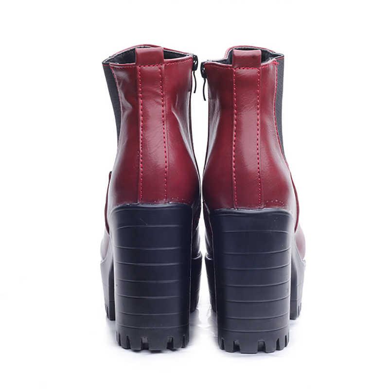 LAKESHI femmes bottes mode plates-formes bottines Zapatos Mujer PU cuir bottes à talons hauts moto botte offre spéciale Botas Mujer