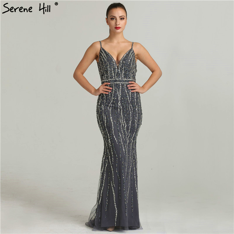 Newest Deep-V Sexy Backless Fashion Evening Dresses Sleeveless Sequined  Beading Mermaid Evening Gowns 2019 a926d23bc68e