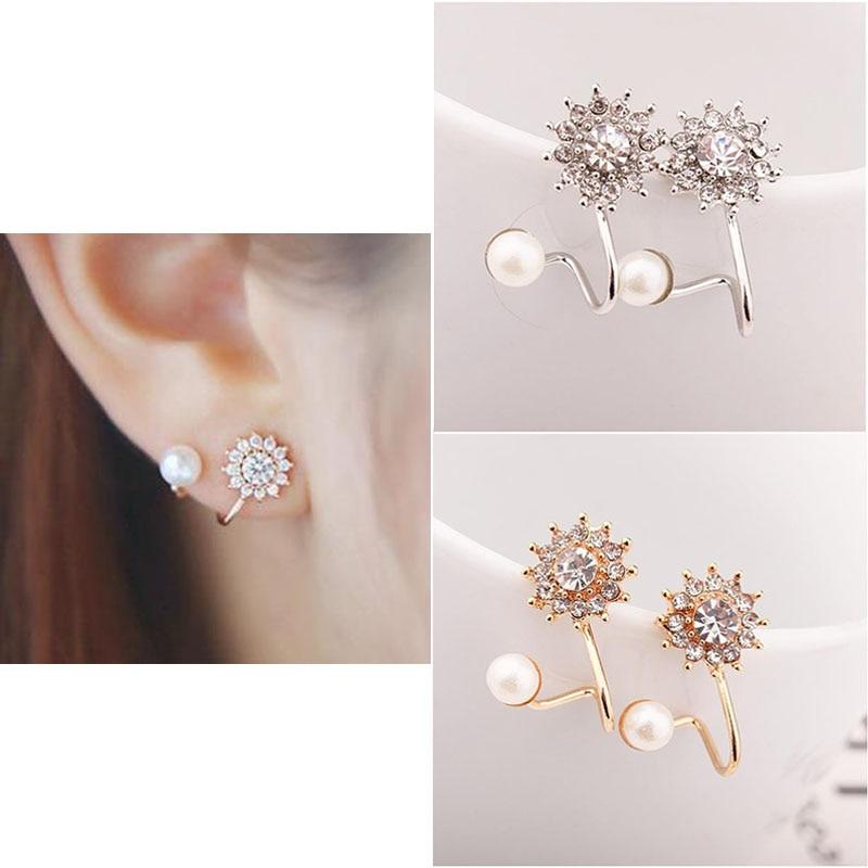 New 1 Pair Fashion Women Stud Earrings Classic Vintage Jewelry Star Pearl Rose Golden Metal Earrings Streetwear Accessories W9