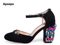 Apoepo Brand Green Black Mary Janes Shoes Women Luxury Crystal High Heels Pumps Shoes Round Toe