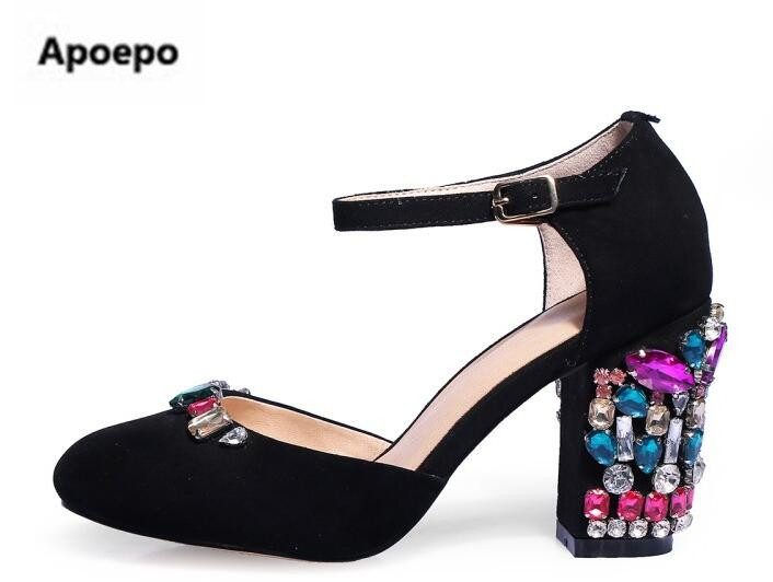 Apoepo brand green black mary janes shoes women luxury crystal high heels pumps shoes round toe party shoes palace Retro pumps apoepo handmade wedding bride shoes bling bling crystal pregnant shoes 3 5 cm increased internal low heels shoes mary janes shoe