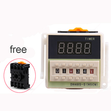 цена на AC/DC 24v-240v DH48S-S Programmable Digital display time relay cycle control Double Time Delay Relay Socket with Base Voltage