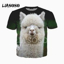 5e5f62cc LIASOSO Tshirts 3D Print Cute Animal White Alpaca Grass Mud Horse T shirt /Hoodie/