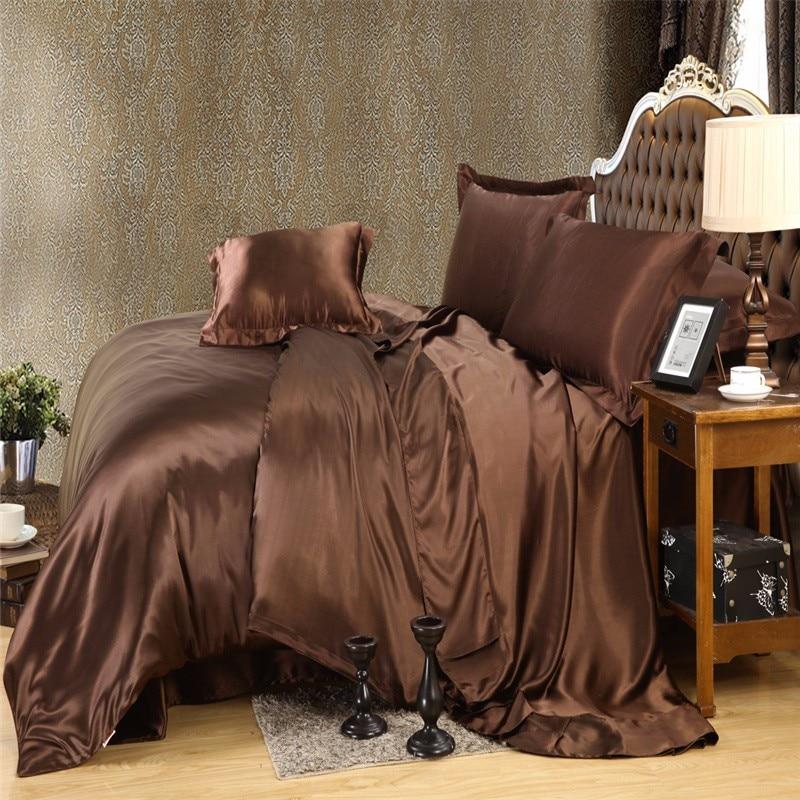 Brun Or couleur De Luxe En Soie ensemble de Literie Roi Reine taille Solide couleur brève style housse de couette draps lit feuille linge de lit