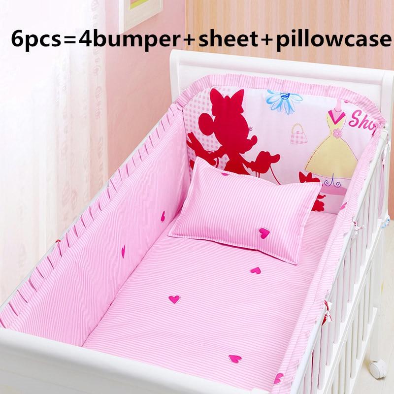 Promotion 6PCS Cartoon Baby Bedding Sets Baby Bumpers Cot Newborn Cute Crib Sets 4bumper sheet pillowcase