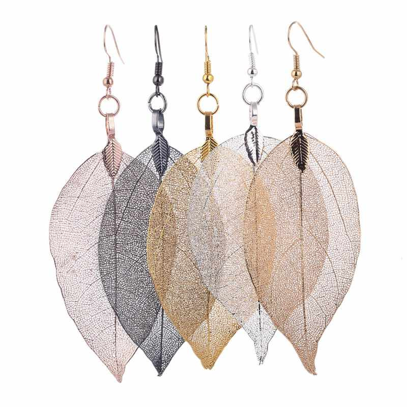 LOVBEAFAS 2019 Fashion Wedding Long Earrings Unique Natural Real Leaf Big Bohemian Earrings For Women Fine Jewelry Party Gift