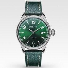 Элегантный 42 мм Parnis Зеленый Сапфир Циферблат Япония Автоматический Механизм мужские Наручные Часы бесплатная доставка Зеленый Ремешок