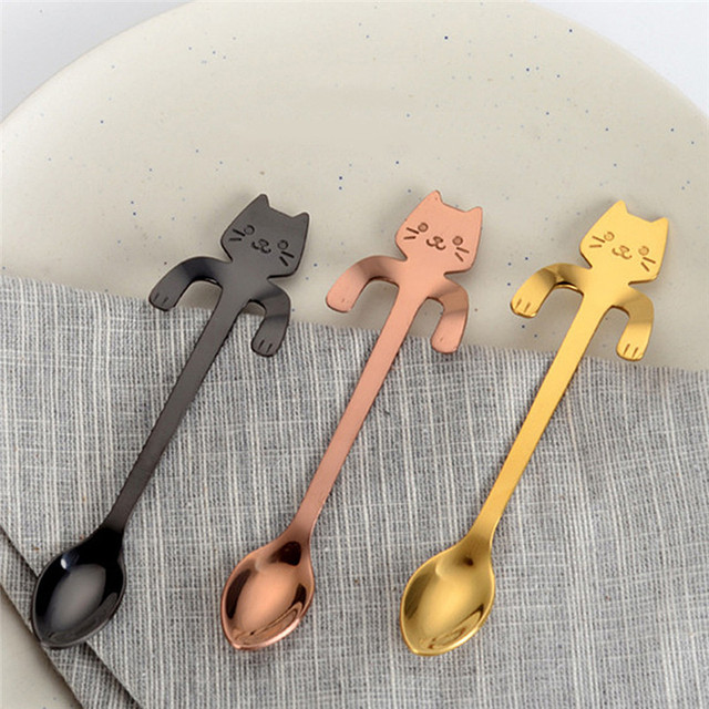 Creative Stainless Steel Cat Shaped Spoons