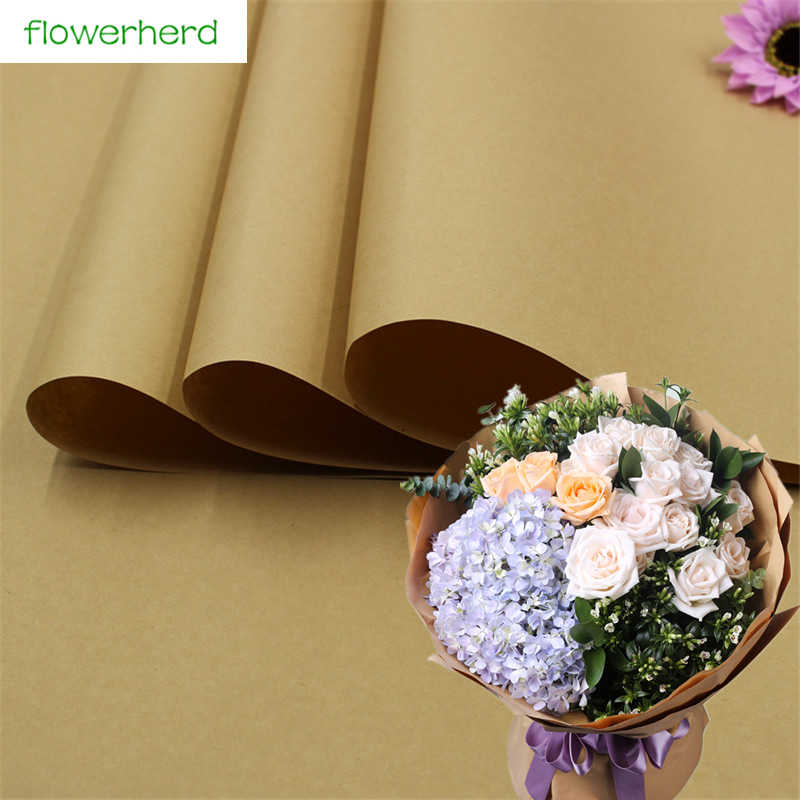 2018 20pcs Lot Kraft Paper Gift 76 52 5cm Solid Brown Color Kraft Wrapping Papers Flower Packing Paper Large Background Paper