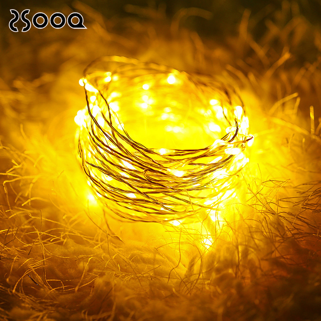 3-10m 100LEDs Copper Wire LED String Light Fairy Bulb Waterproof AA Battery Powered Party Festoon Decoration Light Chain LSL042