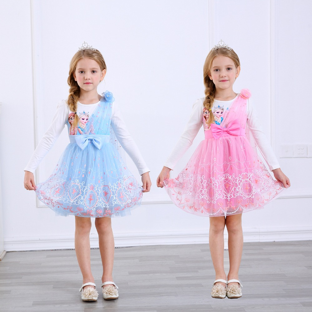 NEW!Kids Girls Snow Queen Elsa Princess Dress for Kids Costumes Blue Pink Colors Party Dress Christmas Gifts for Girls Cosplay
