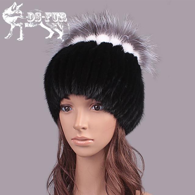 Sombreros de invierno para las mujeres rusia sombrero de piel de visón real con plata bulbo superior de piel de zorro 2016 de la moda elegante gorro de gama alta de las mujeres de piel sombrero