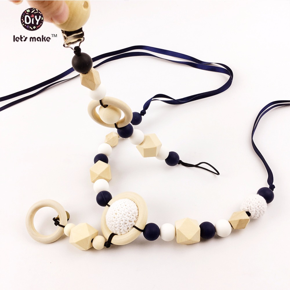 Let's Make 2pc Pram string Silicone Beads Pacifier Clip