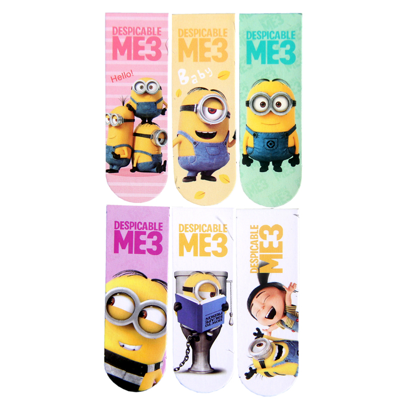 6pcs/set Double Faced Cartoon Minions Despicable Me3 Magnet Bookmark Book Bookmarks For Book Metal Bookmark Bookmarks Creative