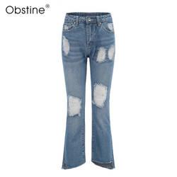 Модные Большие Размеры 25-29 рваные джинсы женские Штаны свободные пят джинсы для женские джинсы с высокой талией женские брюки