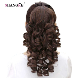 SHANGKE Curls Synthetic Clip In Ponytail Hair Extension Heat Resistant Pony Tail Fake Hair Ponytail Hairpiece With Hairpins