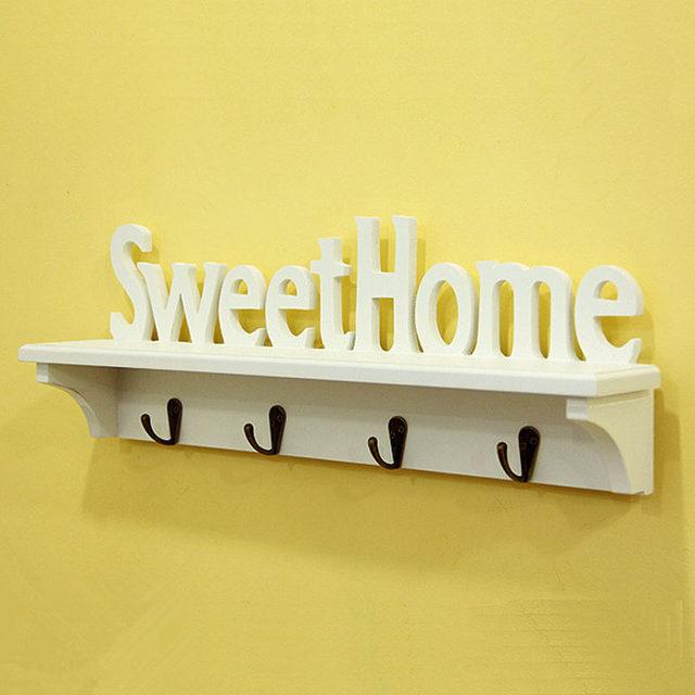 Online Shop DIY Sweet letters Home wall shelf with hooks wood shelf ...