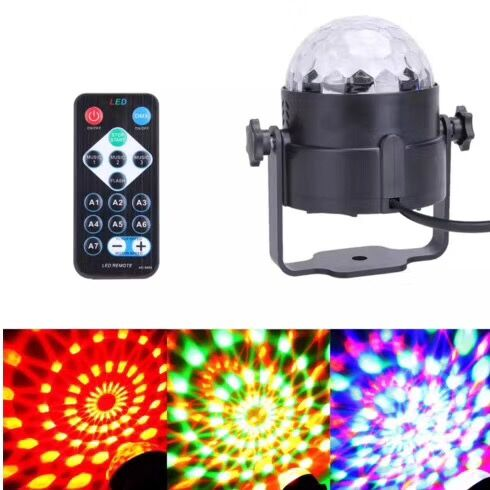 Sound Activated Mini RGB LED Stage Lamps With Remote Controller Magic Ball Laser Projector Disco Party DJ Bar Stage Effect Light