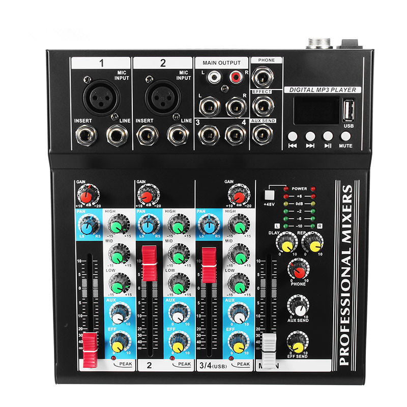 Bluetooth 4 Channel Sound Mixing Amplifier Console Microphone Karaoke Stage Live Studio Audio Mixer 48V Phantom Power With USB audio mixer cms1600 3 cms compact mixing system professional live mixer with concert sound performance digital 24 48 bit effects