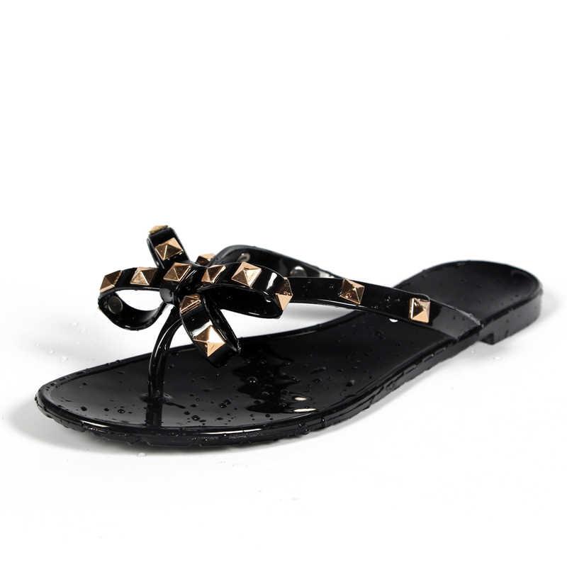 3f24ac0b8d3f9 Hot 2017 Fashion Woman Flip Flops Summer Shoes Cool Beach Rivets big bow  flat sandals Brand