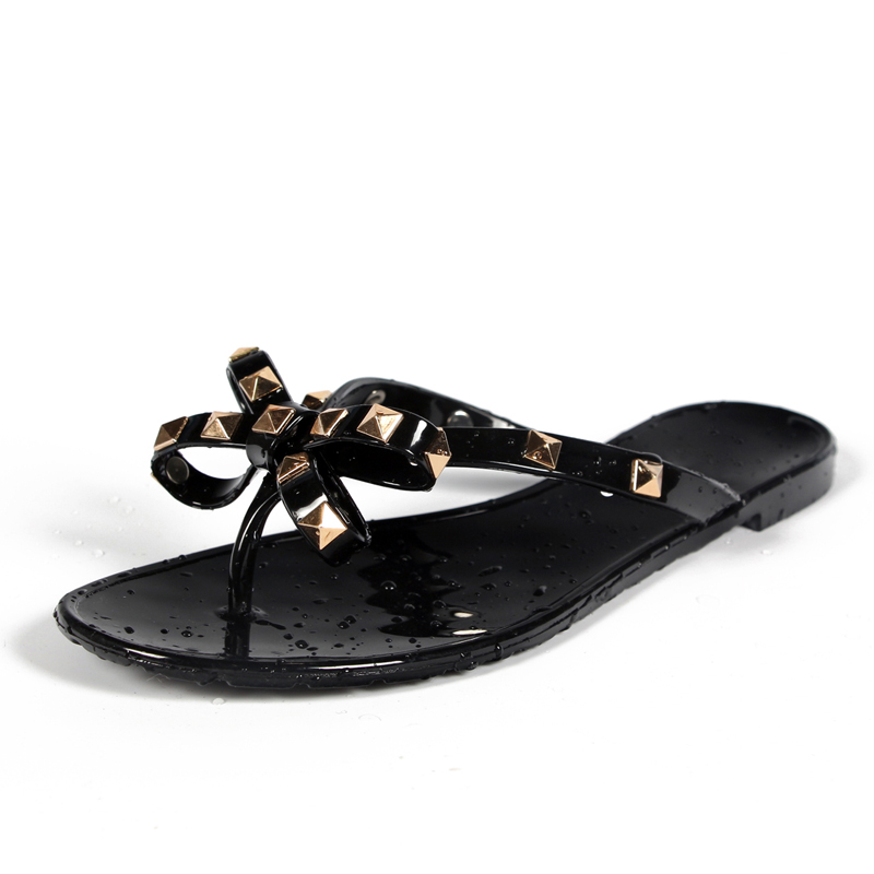 Hot 2017 Fashion Woman Flip Flops Summer Shoes Cool Beach Rivets Big Bow Flat Sandals Brand Jelly Shoes Sandals Girls Size 36-40