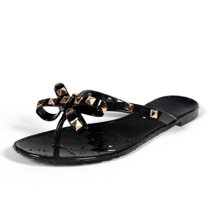 Hot 2019 Fashion Woman Flip Flops Summer Shoes Cool Beach Rivets big bow flat sandals Brand jelly shoes sandals girls size 36-40(China)