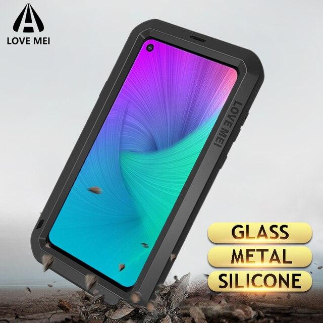 Funda de Metal Love Mei para Samsung Galaxy A9, A8, A6 Plus, 2018, A9S, A8S, S10, 5G Plus, S10E, A70, 2019, carcasa a prueba de golpes