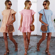 MAYFULL draped o-neck empire flare sleeve plaid dress women work office chic mini female  casual leisure summer robe