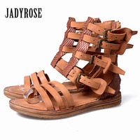 Jady Rose Straps Female Sandals Genuine Leather Summer Boots Back Zipper Gladiator Sandal Flat Beach Shoes