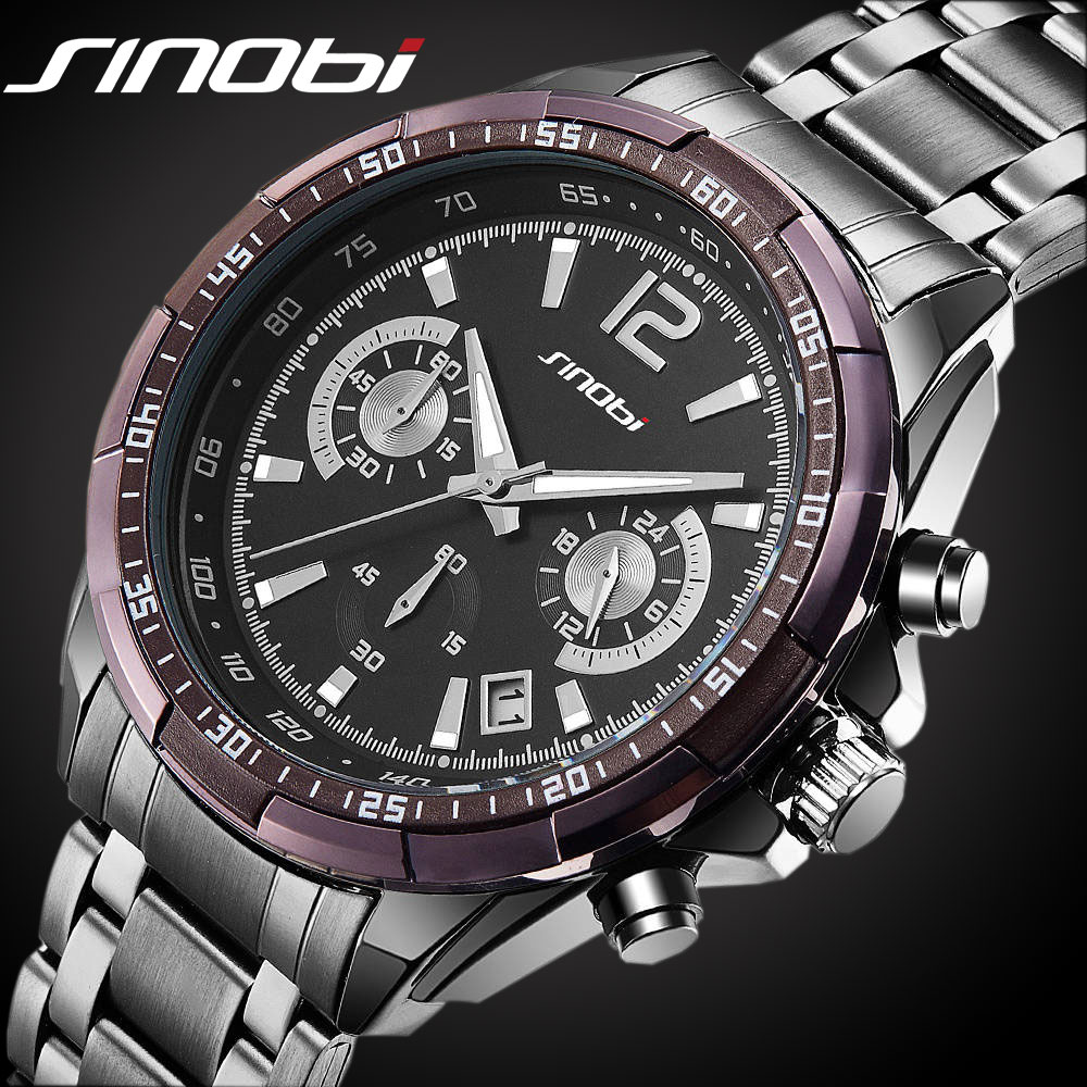 SINOBI Top Luxury Brand Wrist Watches Men Sports Full Steel Quartz Clock Male Clock Military Analog Relogios Chronograph new sinobi sports chronograph men s wrist watches digital and quartz boys military diving watchband top luxury brand male clock 2016