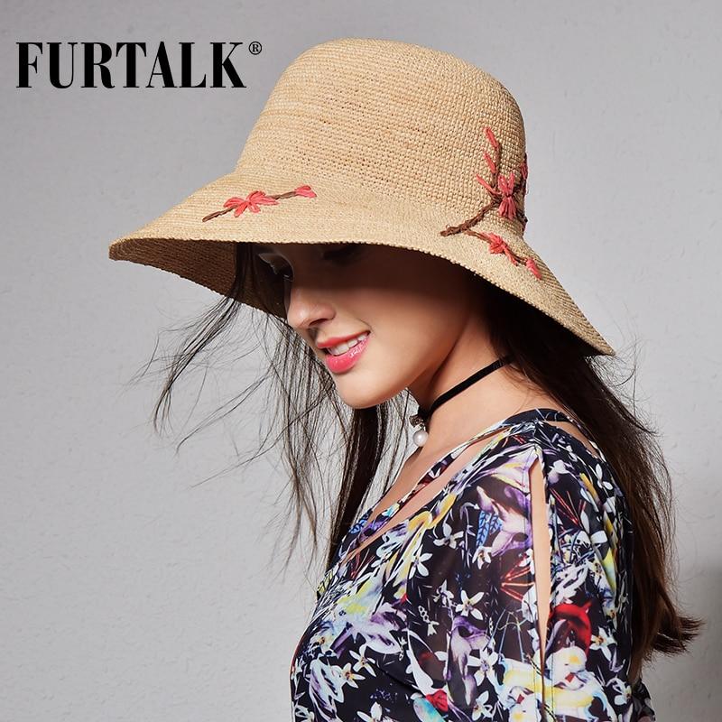 FURTALK importado ráfia chapéu de verão para as mulheres balde chapéu  panamá chapéu de palha para o chapéu de sol de praia viagem em Chapéus de  sol de ... 71e00861f9a