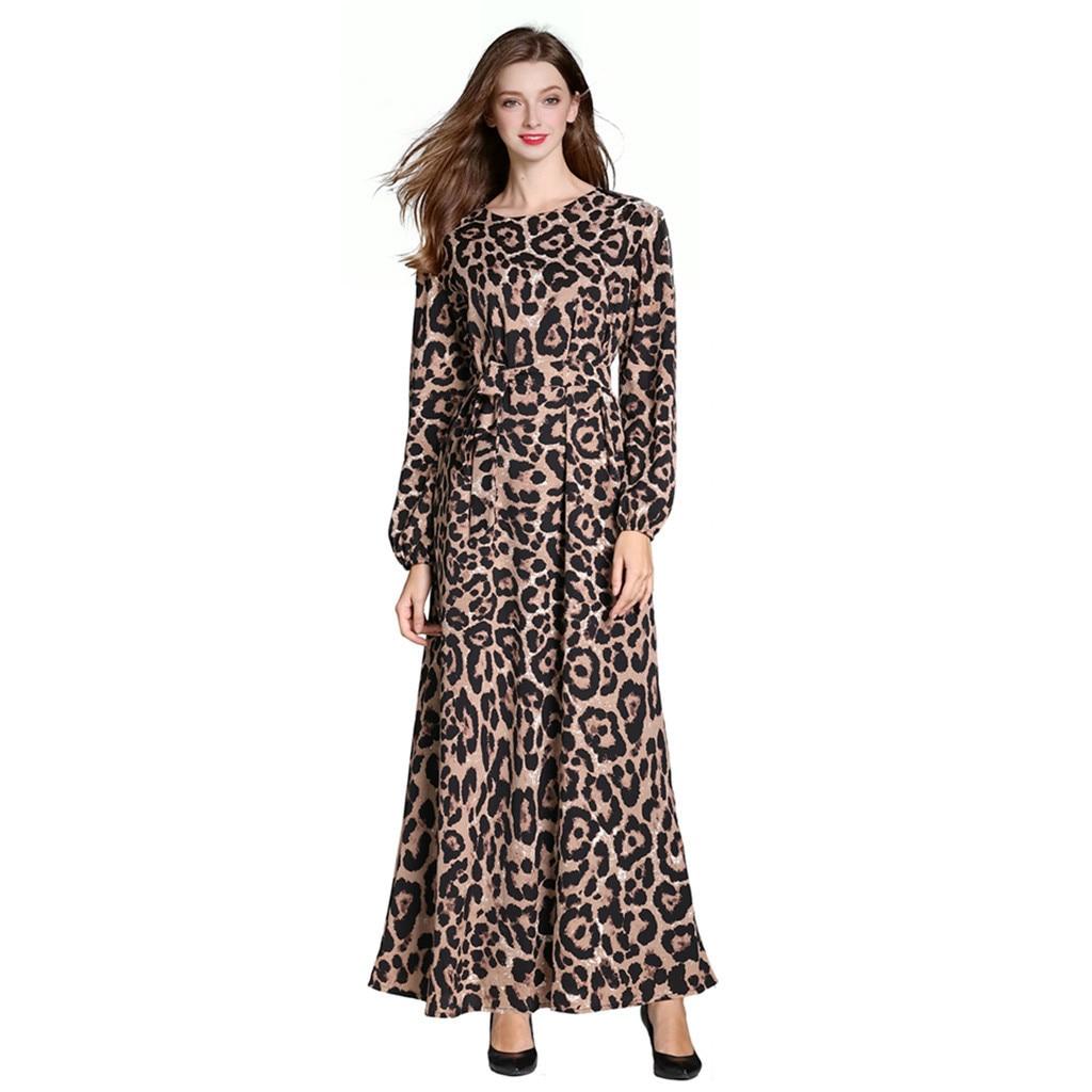 Muslim Women 2019 New Arrivals Women Muslim Casual Loose Solid Color O-Neck Robe Clothing Abaya Islamic Arab Kaftan Dubai