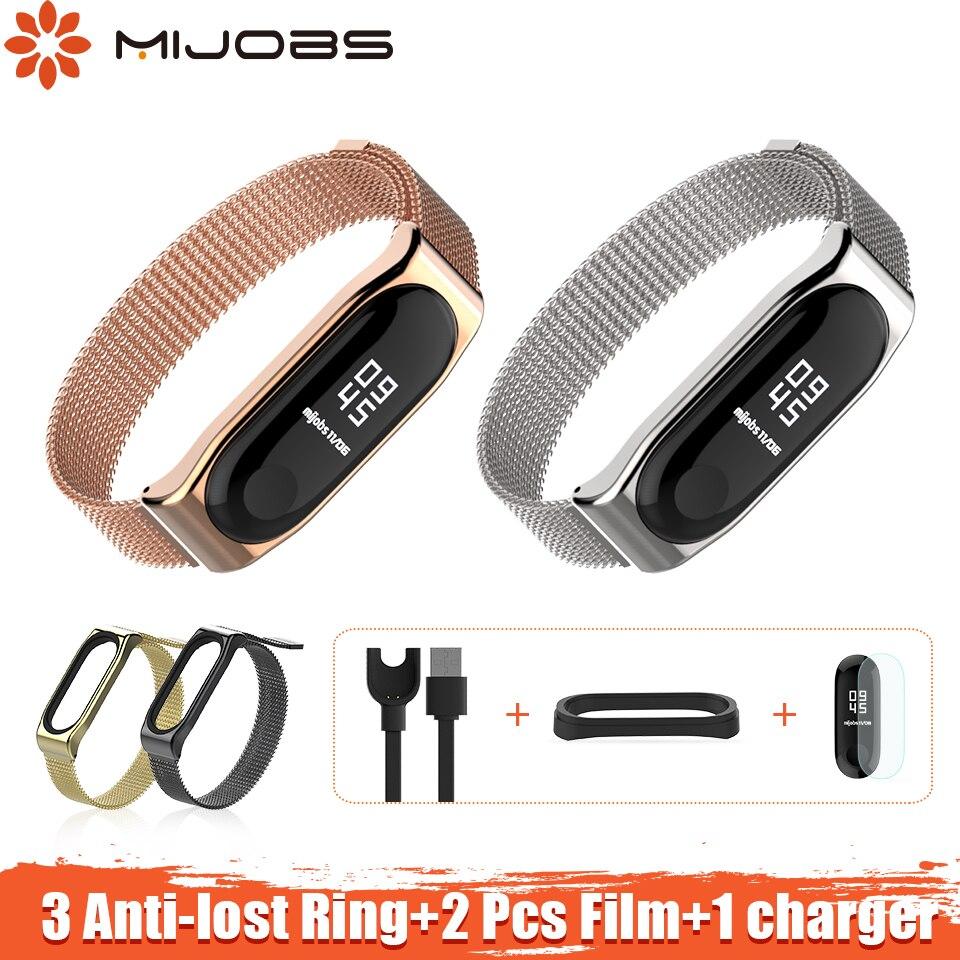 Mijobs Magnetic Mi Band 3 Bracelet Metal Strap for xiaomi mi band 3 Smart Bracelet Stainless Miband 3 pulseira Mi band 3 Strap