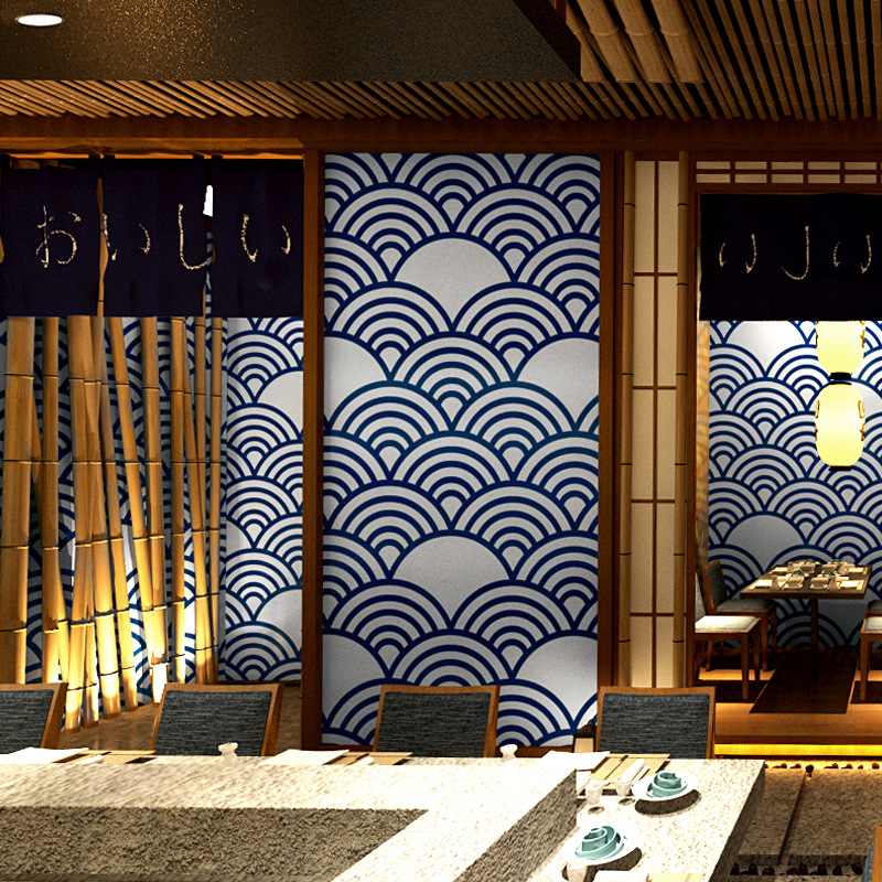 Hot Japanese Style Wallpaper Japanese Decoration Personality Japanese Cuisine Ramen Sushi Shop Surf Ukiyo Painted Wallpaper